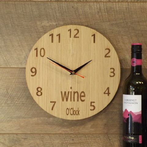 Wine O'Clock Wooden Wall Clock for Wine Lovers (B1)